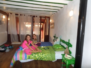 Sweet sisters in their room