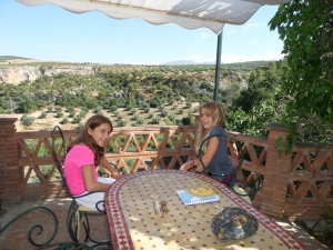 Sky and Savannah on the lower balcony overlooking the olive trees.