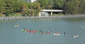 From the Puente de la Cartuja: Kayakers on the Rio Guadalquivir