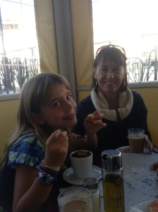Grammy and Savannah Churros and chocolate