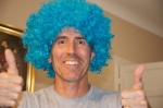 We bought this crazy blue wig.