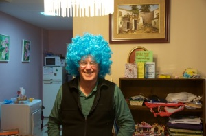 Grampy Dave, everyone gets a turn in the wig!