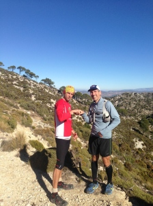Eric and Mike  Fist bump at the top of a climb, almost time to start down!