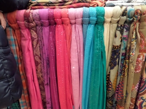 A rainbow of french scarves.