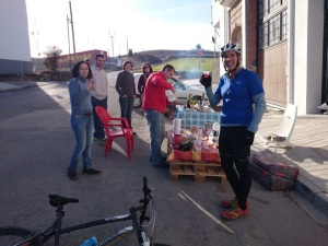 Mike coming home from his ride enjoying some moonshine!  On the left is Mari Carmen, Sky and Savvy's lovely Spanish  tutor.