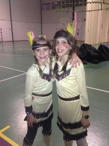 Savannah and Sky as Indians in the Peter Pan show.