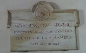 A plaque in Washington Irving's room at the Alhambra