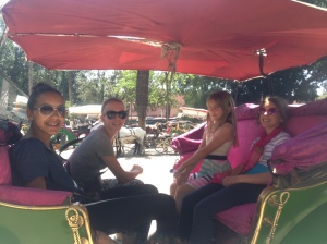 American girls on a carriage ride in Marrakech!