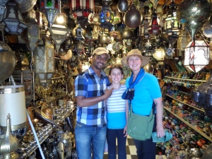 A cool lamp shop The vendor with Sky and Cathy